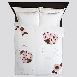 Ladybugs Pink N Brown Queen Duvet