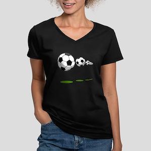 Soccer Women's V-Neck Dark T-Shirt