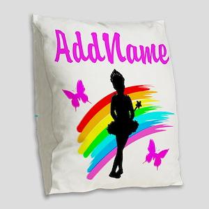 DANCING GIRL Burlap Throw Pillow