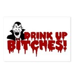 Dracula Drink up Bitches Halloween Postcards (Pack