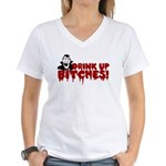 Dracula Drink up Bitches Halloween Women's V-Neck