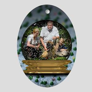 Personalizable Snowglobe Photo Frame Ornament (Ova