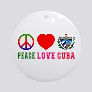 Peace Love Cuba Ornament (Round)