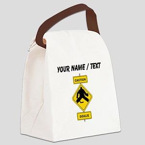 Custom Caution Goalie Sign Canvas Lunch Bag
