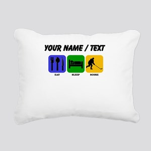 Custom Eat Sleep Score Rectangular Canvas Pillow