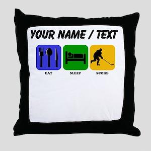Custom Eat Sleep Score Throw Pillow