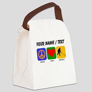 Custom Peace Love Hockey Canvas Lunch Bag
