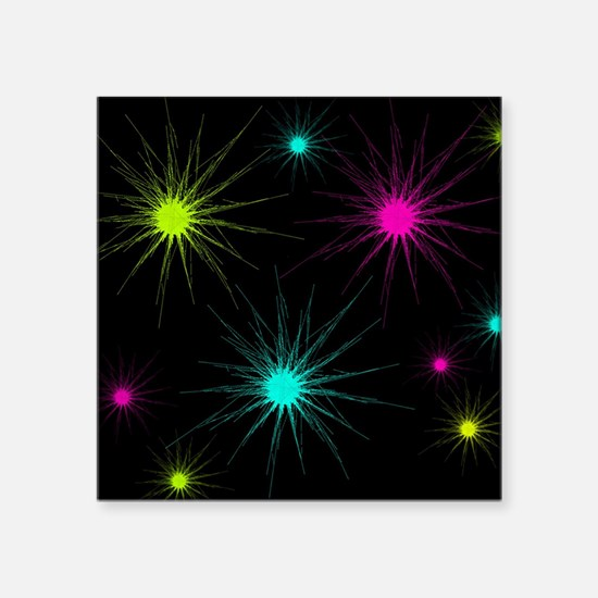 "scratchburst jewel tones Square Sticker 3"" x 3"""