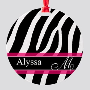 Pink Zebra Personalized Ornament