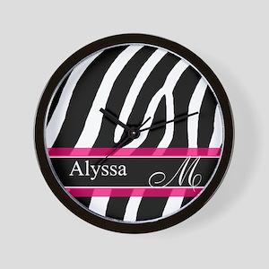 Pink Zebra Personalized Wall Clock