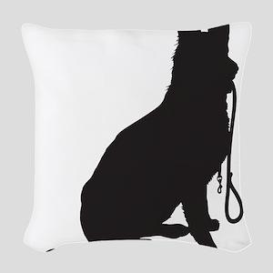Shepherd with Leash Woven Throw Pillow