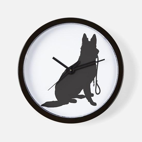 Shepherd with Leash Wall Clock