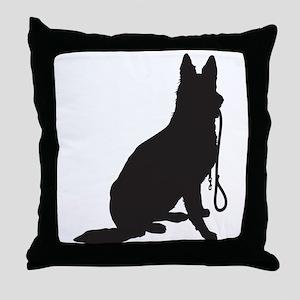 Shepherd with Leash Throw Pillow