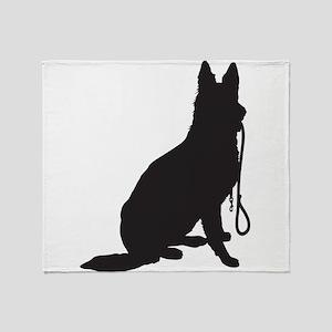 Shepherd with Leash Throw Blanket