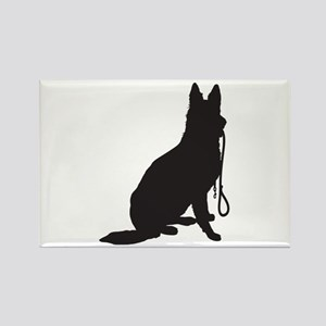 Shepherd with Leash Rectangle Magnet