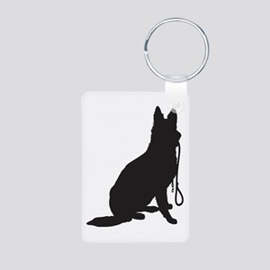 Shepherd with Leash Aluminum Photo Keychain