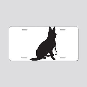 Shepherd with Leash Aluminum License Plate