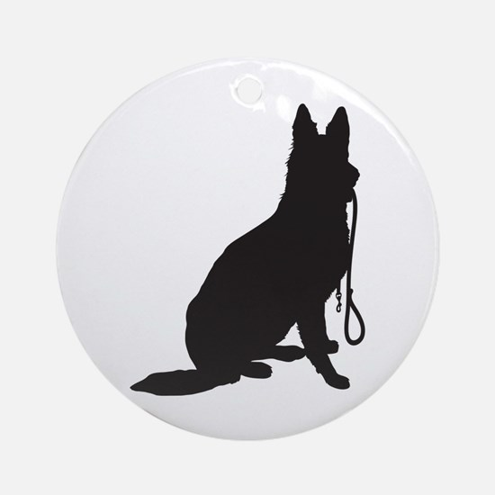 Shepherd with Leash Ornament (Round)