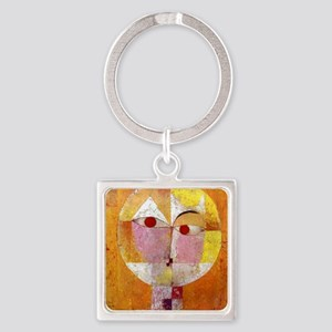 Modern Art Face with Eyes Square Keychain