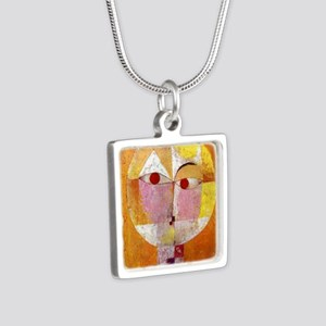 Modern Art Face with Eyes Silver Square Necklace