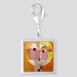 Modern Art Face with Eyes Silver Square Charm