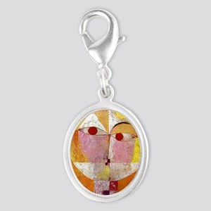 Modern Art Face with Eyes Silver Oval Charm