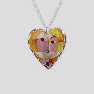 Modern Art Face with Eyes Necklace Heart Charm