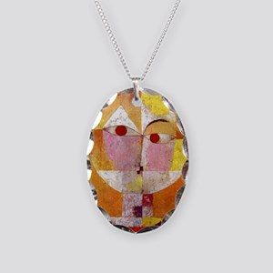 Modern Art Face with Eyes Necklace Oval Charm