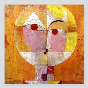 """Modern Art Face with Eye Square Car Magnet 3"""" x 3"""""""