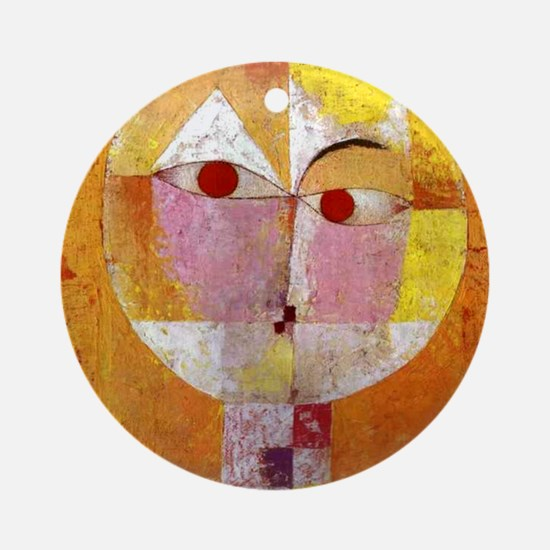Modern Art Face with Eyes Round Ornament