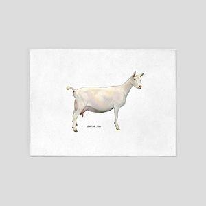 Saanen Dairy Goat 5'x7'Area Rug