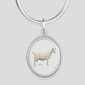 Saanen Dairy Goat Silver Oval Necklace
