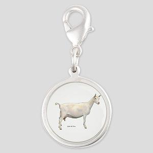 Saanen Dairy Goat Silver Round Charm