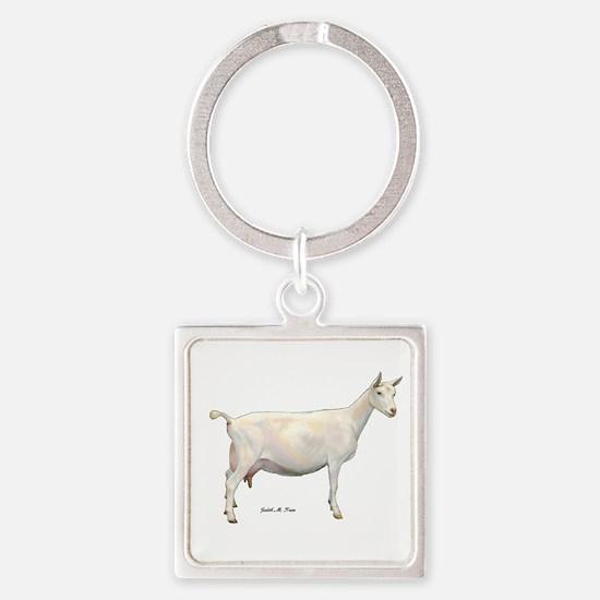 Saanen Dairy Goat Square Keychain