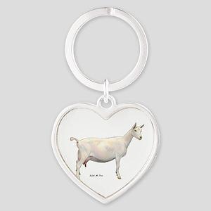 Saanen Dairy Goat Heart Keychain