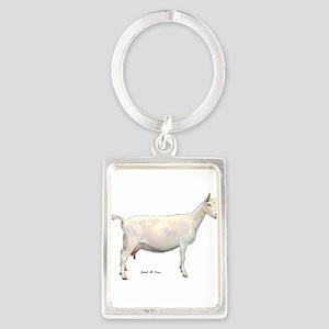 Saanen Dairy Goat Portrait Keychain