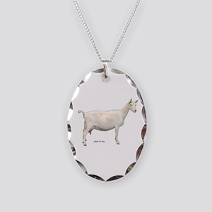 Saanen Dairy Goat Necklace Oval Charm