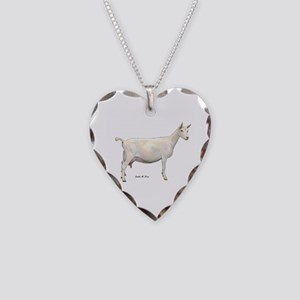 Saanen Dairy Goat Necklace Heart Charm