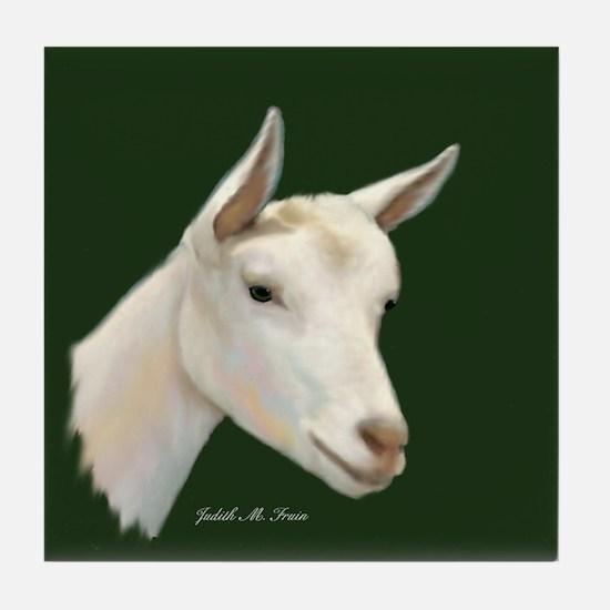 Saanen Dairy Goat Tile Coaster