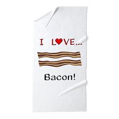 I Love Bacon Beach Towel