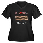 I Love Bacon Women's Plus Size V-Neck Dark T-Shirt