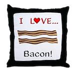 I Love Bacon Throw Pillow