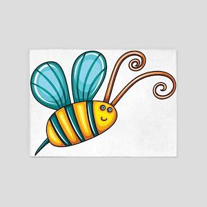 Teal Bee 5'x7'Area Rug