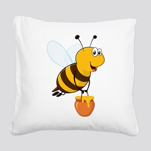 Honey Pot Bee Square Canvas Pillow