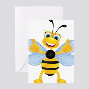 Thumbs up Bee Greeting Cards