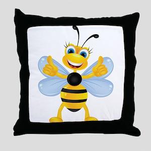 Thumbs up Bee Throw Pillow