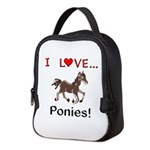 I Love Ponies Neoprene Lunch Bag