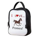 I Love Ponies Neoprene Lunch Bag