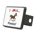 I Love Ponies Rectangular Hitch Cover