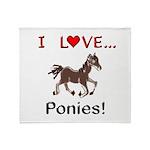 I Love Ponies Throw Blanket